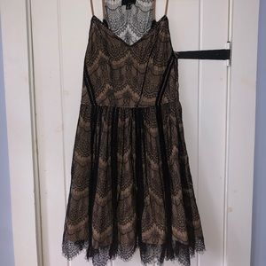 GREYLIN Lit Boutique Black/Tan Fit and Flare Dress